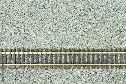 Fine grey gravel background used as track ballast for model railways with sectio Canvas Print