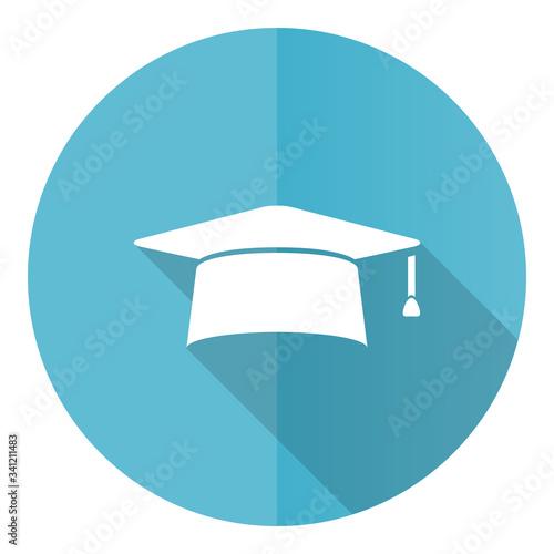 Cuadros en Lienzo Graduation blue round flat design vector icon isolated on white background, cap,