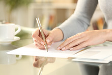 Woman Hands Writing A Letter O...