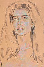 Watercolor Painting, Female Po...