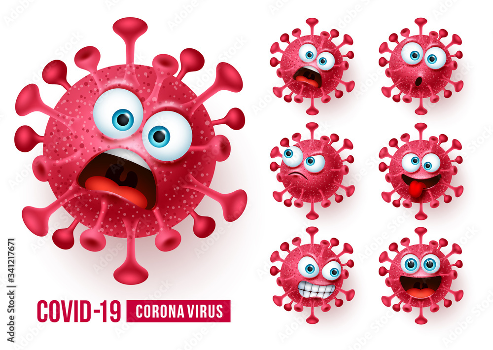Fototapeta Covid19 corona virus emojis vector set. Covid-19 coronavirus emojis and emoticons with scary and angry facial expressions in white background. Vector illustration.