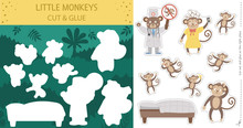 Vector Summer Cut And Glue Activity With Five Little Monkeys. Tropical Educational Nursery Rhyme Crafting Game With Cute Animal Characters. Printable Worksheet For Teaching Counting To 5..