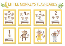 Vector Set Of Educational Flashcards With Cute Five Little Monkeys, Mommy, Doctor, Bed. Funny Nursery Rhyme And Song Illustration. Bright Printable Cards For Teaching Counting. Jungle Summer Clip Art.