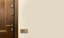 Wooden Front Door. Metal Bronz...