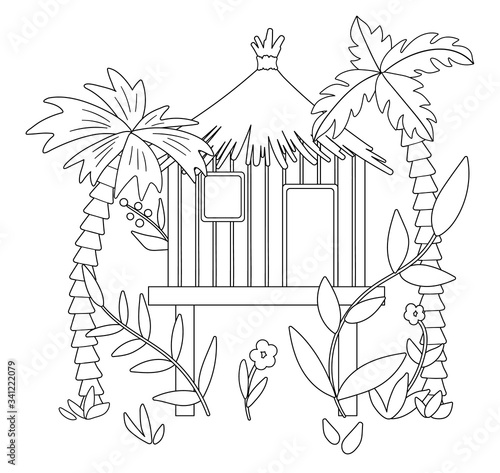 Photo Vector black and white illustration of jungle hoot with palm trees and leaves