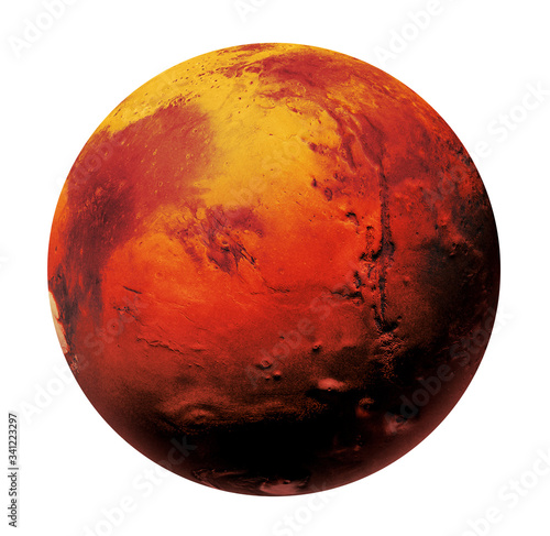 Fototapeta Mars the Red planet of the solar system in space. High resolution art presents planet Mars isolated on white. obraz