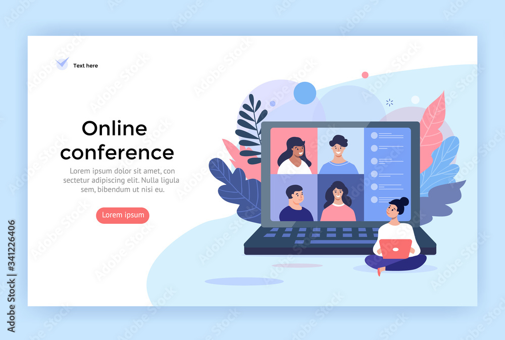 Fototapeta Video conference concept illustration. Friends using computer for online meetings and internet communications. Landing page design perfect for web, banner, mobile app, vector flat style.