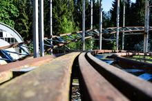 Abandoned Amusement Park Roller Coaster Road