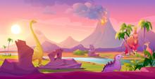 Dinosaurs At Erupting Volcano Landscape. Prehistoric Volcanic Eruption Background, Palm Trees Sky With Shining Sun. Jurassic Era Of Earth Evolution, Tropical Scenery Land Cartoon Vector Illustration