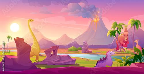 Dinosaurs at erupting volcano landscape Fototapet