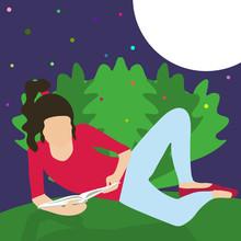 Teen Girl Under Moon Reading An Interesting Book Lying Near Bush In Light Of Magical Fireflies. World Of Fantasy Novel literature And Magic. Dreamer. Love Of Reading At Night Vector Illustration.