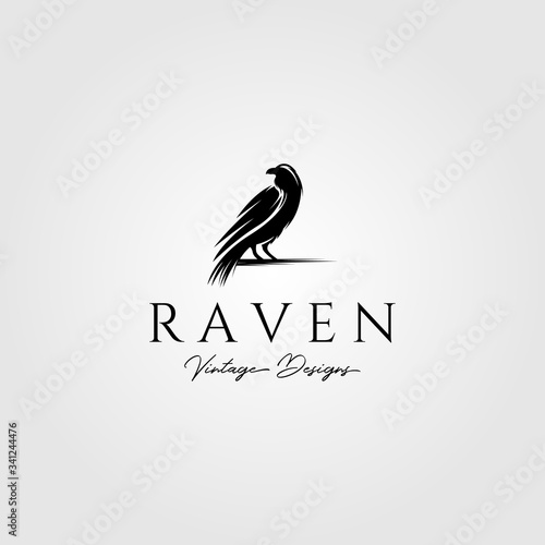 Fényképezés raven or crow bird logo vector illustration design