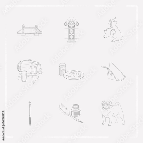 Photo Set of england icons line style symbols with robin hood hat, uk map, barrel of beer and other icons for your web mobile app logo design