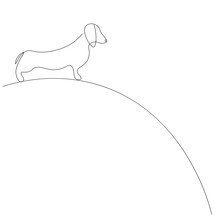 Dachshund Dog Line Drawing Animal Vector Illustration