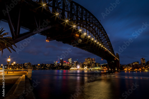 Sydney, Australia - 12th February 2020: A German photographer visiting Sydney in Australia, taking pictures of the Harbour Bridge at night with the Lunar park in the background. © ms_pics_and_more