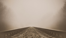 Old Railway Going Into The Fog...