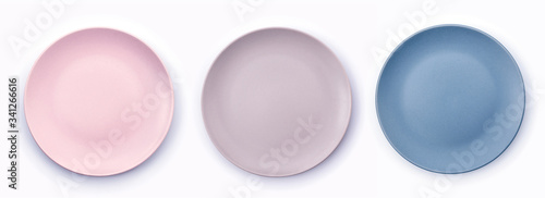 Pink, Purple and Navy Blue empty plates collection isolated on white background top view