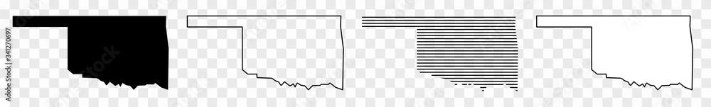 Fototapeta Oklahoma Map Black | State Border | United States | US America | Transparent Isolated | Variations