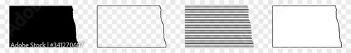 Fotografija North Dakota Map Black   State Border   United States   US America   Transparent