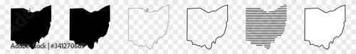 Ohio Map Black | State Border | United States | US America | Transparent Isolated | Variations