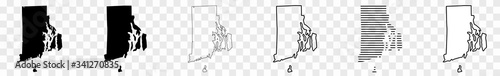 Foto Rhode Island Map Black | State Border | United States | US America | Transparent