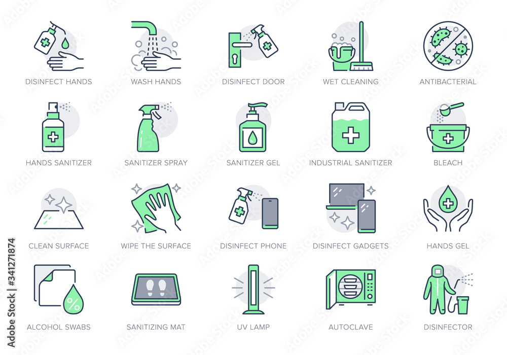 Fototapeta Disinfection line icons. Vector illustration included icon as spray bottle, floor cleaning mop, wash hand gel, autoclave uv lamp outline pictogram for housekeeping Green Color, Editable Stroke