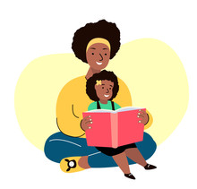 African Dark Skinned Smiling Family.Mother And Daughter Reading Book Together.Young Adult Parent.Baby,Girl, Woman,Child Kid.Caring Mom,Nanny Or Babysitter.Relatives Having Fun.Flat Vector Illustration