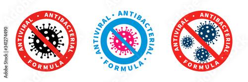 Obraz Antiviral antibacterial coronavirus formula vector icons. Coronavirus 2019-nCov, Covid-19 NCP virus stop signs, health protection, hand sanitizer labels - fototapety do salonu