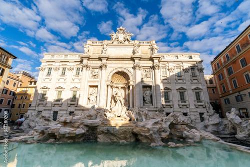 Wide view of Rome Trevi Fountain (Fontana di Trevi) in Rome, Italy Wallpaper Mural