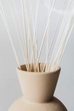 Ornamental Grass In A Brown Vase
