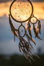 Close-up Of Dreamcatcher During Sunset