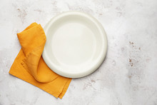 Clean Napkin With Plate On Whi...