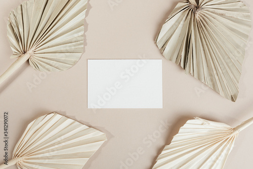 Blank business card with dried palm leaves Canvas-taulu