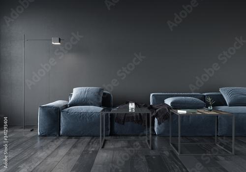 Living room interior with soft minimalist blue sofa Fototapeta