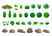Set Of Vector Trees Bushes And...