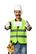 Manual worker with mustache holding protective face mask for your text for Coronavirus epidemic isolated on white background.