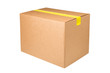 Blank cardboard box with yellow sticky tape isolated on white background. Carton box taped with sticky tape isolated on white background