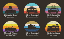 Cars On Road. Set Of Retro Illustrations With Silhouettes Of People In Road Trip. Family Camping Trip. Vector Backgrounds For Prints, T-shirts