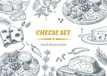 Set Of Cheese Top View Frame. Vector Illustration. Engraved Illustration.