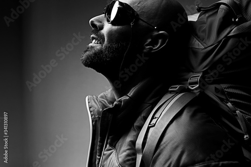 man with  backpack,  tourist,  brutal journey,  hike, the concept of active male Tablou Canvas
