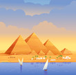 The pyramids of Egypt. Egyptian pyramids in the evening on the river. The Cheops Pyramid in Cairo, in Giza. Egyptian stone structures. Pyramids on the background of evening sunset. Vector illustration