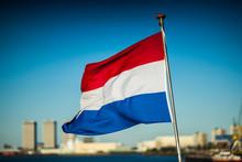 Dutch Flag Against Clear Blue ...