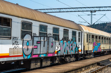 Old Train Painted With Graffiti