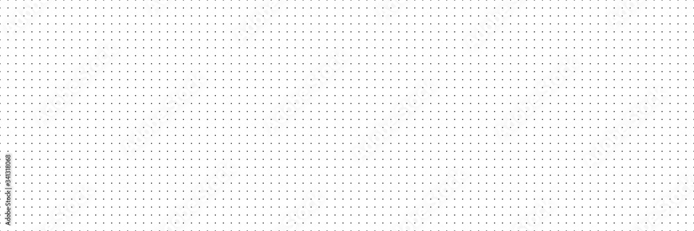 Fototapeta Vector panorama drafting paper. Graphic regular dots grid background. Panorama paper sheet for web design.