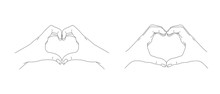 Male And Female Hands Making A Heart Gesture From Fingers, Line Illustration Of Love Symbol, Sketch Graphic