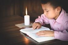 Poor Children Read Books Using...