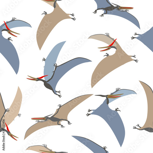 seamless pattern of a prehistoric reptile of the Jurassic period, flying grey pterodactyl with wings and a crest, color vector illustration isolated on white background in cartoon and hand drawn style Wall mural