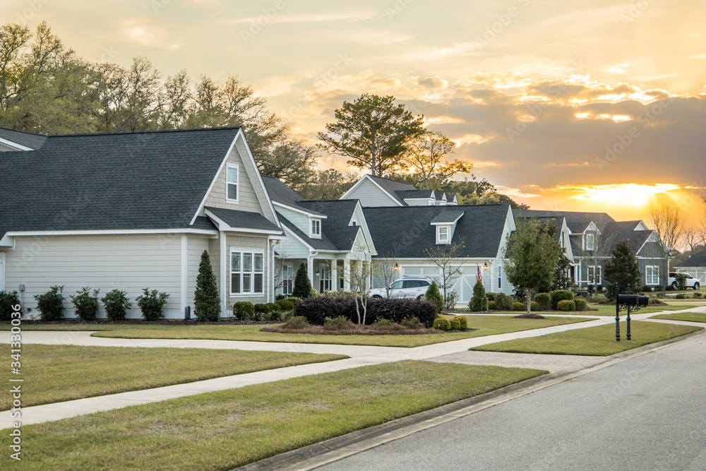 Fototapeta A street view of a new construction neighborhood with larger landscaped homes and houses with yards and sidewalks taken near sunset with copy space