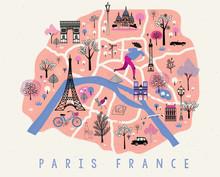 Cartoon Map Of Paris With Lege...