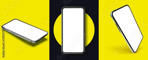 Fotografija Smartphone frame less blank screen, rotated position